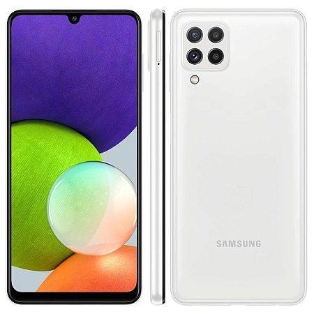 """Smartphone Samsung Galaxy A22 Branco 128GB, 4GB RAM, Câmera Quádrupla Traseira, Tela Infinita de 6.4"""", Bateria de 5000mAh, Dual Chip e Octa Core"""