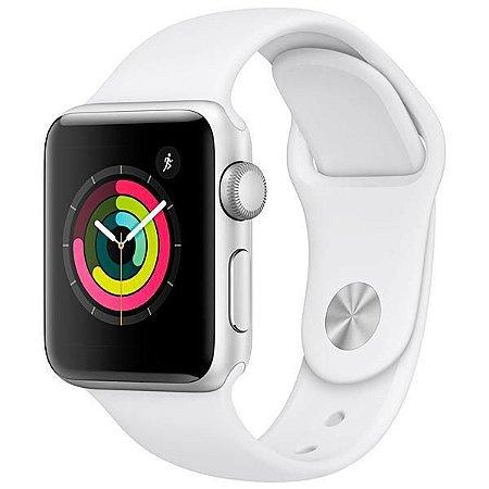 Smartwatch Apple watch Serie 3 Com GPS 38mm Caixa de alumínio Prata Com Pulseira esportiva Branca