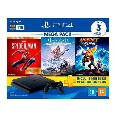 Console PlayStation 4 ps4 1tb + 3 jogos preto