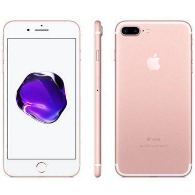iPhone 7 Plus Apple Novo Lacrado iOS 11, Dupla Câmera Traseira, Resistente à Água, Wi-Fi, 4G LTE e NFC, 128GB, Rose Gold (Ouro Rose), Tela HD de 5,5
