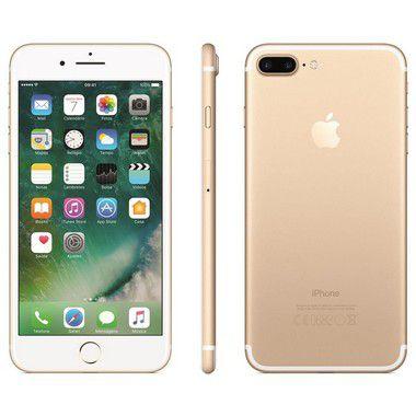 iPhone 7 Plus Apple Novo Lacrado iOS 11, Dupla Câmera Traseira, Resistente à Água, Wi-Fi, 4G LTE e NFC, 128GB, Dourado Gold, Tela HD de 5,5