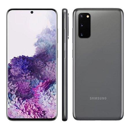"""Smartphone Samsung Galaxy S20, 128GB, 8GB RAM, Tela Infinita de 6.2"""", Câmera Tripla Traseira 64MP+12MP+12MP (UW), Câmera Frontal 10MP com Autofoco, IP68, Dual Chip, Leitor de Digital Ultrassônico, PowerShare, Android - Cosmic Gray (Cor escura ) (Cinza)"""