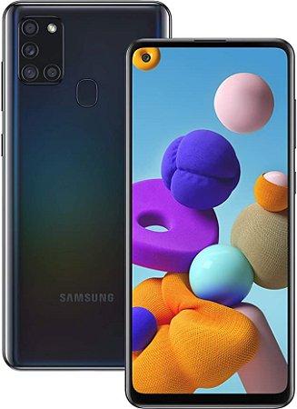 """Smartphone Samsung Galaxy A21s Preto 64GB, Câmera Quádrupla,Tela Infinita de 6.5"""", Leitor de Digital, 4GB RAM, Carregamento Rápido e Android 10 - ."""