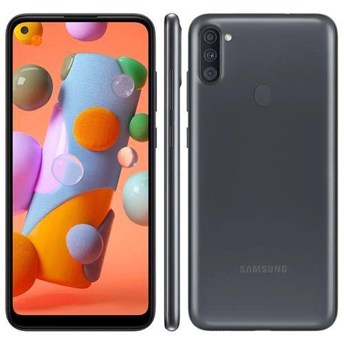"""Smartphone Samsung Galaxy A11 Preto 64GB, Câmera Tripla,Tela Infinita de 6.4"""", Leitor de Digital, Octa Core, 3GB RAM, Carregamento Rápido e Android 10"""