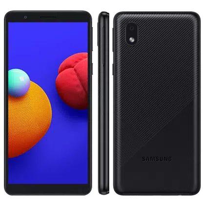 """Smartphone Samsung Galaxy A01 Core 32GB Tela 5.3"""" Câmera Traseira 8MP Android GO 10.0 Dual Chip - Preto"""