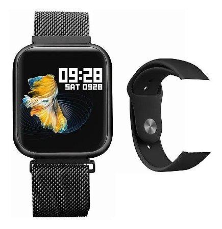 Relogio Smartwatch Inteligente P70 Pro Bluetooth Pulseira em Metal Preto