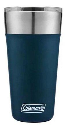 Copo Termico De Cerveja Azul Em Aço Inox Com Tampa Coleman