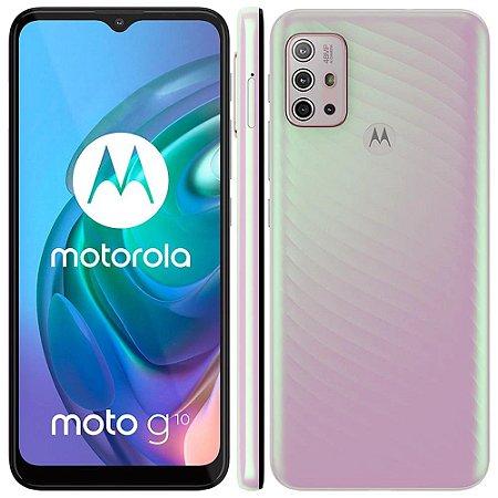 """Smartphone Motorola Moto G10 Branco Floral 64GB, 4GB Ram, Tela de 6.5"""", Câmera Traseira Quádrupla, Android 11 e Processador Qualcomm 460 Octa-Core"""