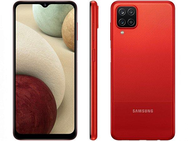 """Smartphone Samsung Galaxy A12 64GB Vermelho 4G - Octa-Core 4GB RAM 6,5"""" Câm. Quádrupla + Selfie 8MP"""