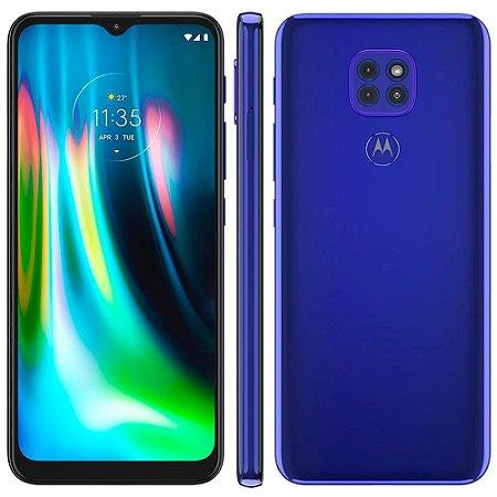 """Smartphone Motorola Moto G9 Play Azul Safira 64GB, 4GB RAM, Tela de 6.5"""", Câmera Traseira Tripla, Android 10 e Processador Octa-Core"""