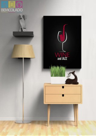 "Placa Decorativa ""Wine and Jazz"""
