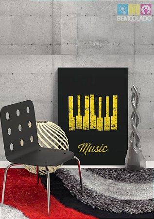 """Placa Decorativa """"Piano Music"""""""
