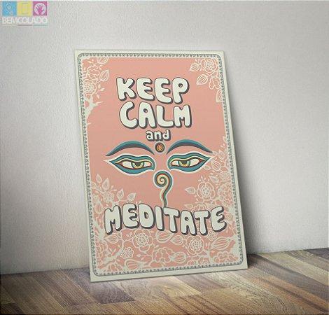 "Placa Decorativa ""Keep Calm and Meditate"""