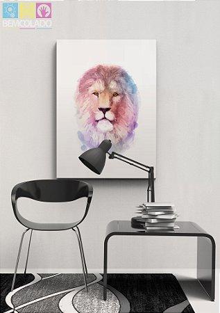 """Placa Decorativa """"Lion Aquarela"""""""