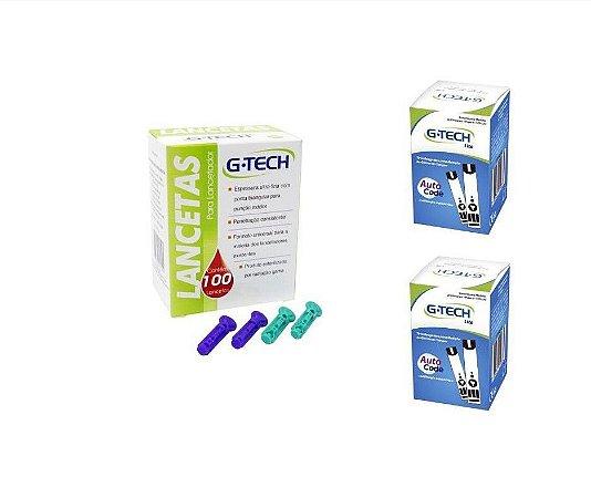 Tiras G Tech Lite 100 un + Lancetas 28g 100 un