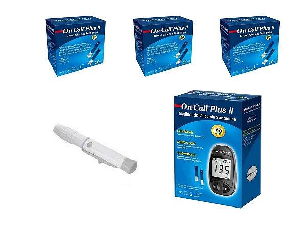 Kit Medidor On Call + 3 caixas de Tiras de 50un + caneta lancetadora medlevensohn