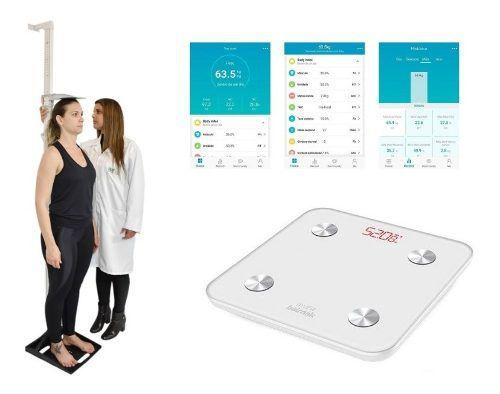 Estadiômetro Portátil + Balança Bioimpedancia Bluetooth Myfit