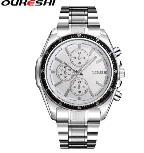 OUKESHI Moda Relógio Banda de Aço Inoxidável Homens Estilo De Luxo