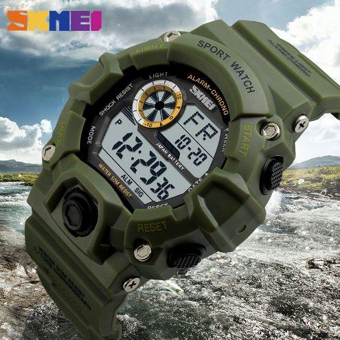 SKMEI Relógios Esportivo Homens Militares Choque Digital de Alarme 50 M Relógio À Prova D' Água