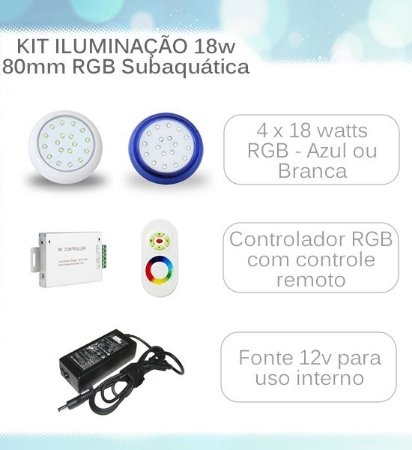 Kit Iluminação Subaquática LED Piscina RGB IP68 - 4 Luminárias 18 Watts 80mm