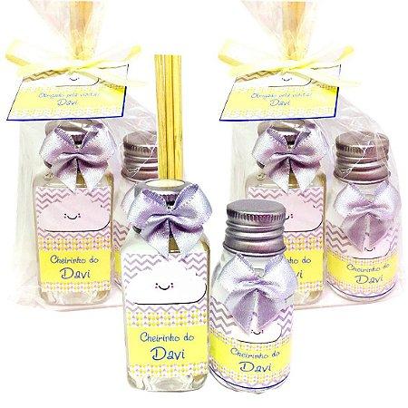 Lembrancinha Maternidade Kit Aromatizador 40 ml e Alcool gel 30 ml Classic