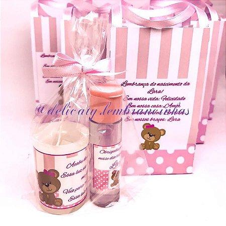 Lembrancinha Maternidade - Kit Álcool gel e Vela Perfumada na Sacolinha Personalizada