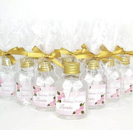 Lembrancinha Maternidade - Mini álcool gel 40 ml basic com laço