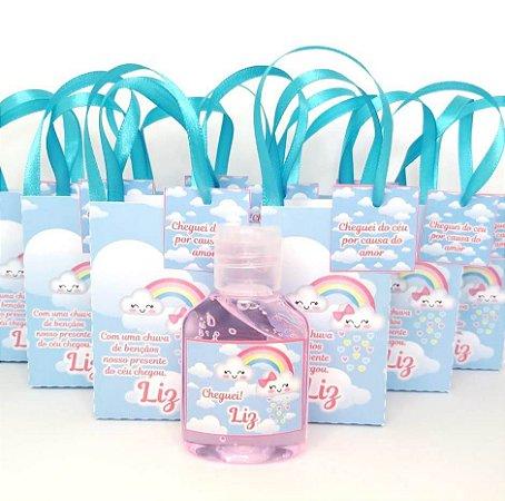 Lembrancinha Maternidade - Mini álcool gel 40 ml na Sacolinha com tag
