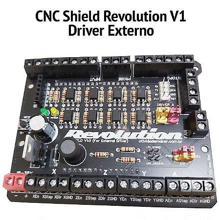 CNC Shield Revolution V1.0 External Driver + Montada