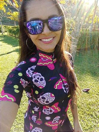 BLUSA CICLISMO FEMININA - CAVEIRA MEXICANA PINK - LACARRERA