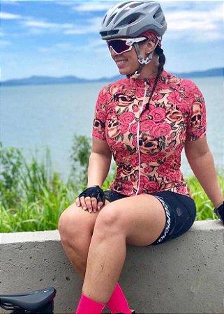 BLUSA CICLISMO FEMININA - CAVEIRA FLORAL - LACARRERA