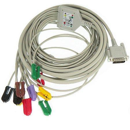 Cabo paciente 10 vias tipo Garra para Eletrocardiógrafos - Bionet