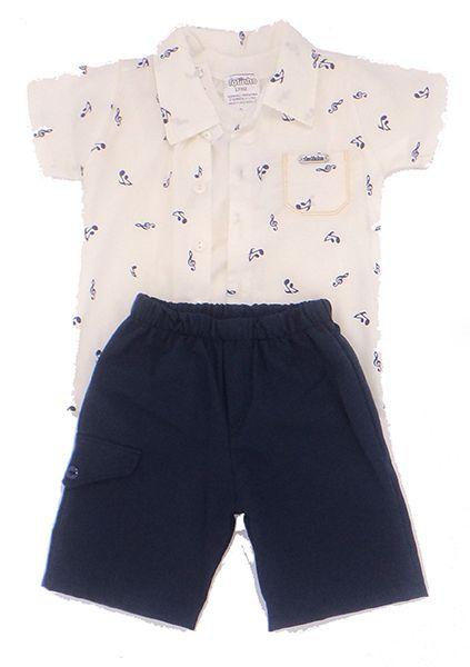 Conjunto Camisa Tecido Camiseta algodão e Bermuda