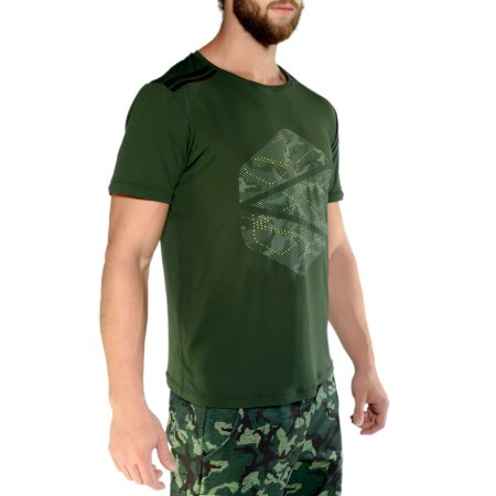 T-SHIRT- LOGO CAMO - MILITARY GREEN