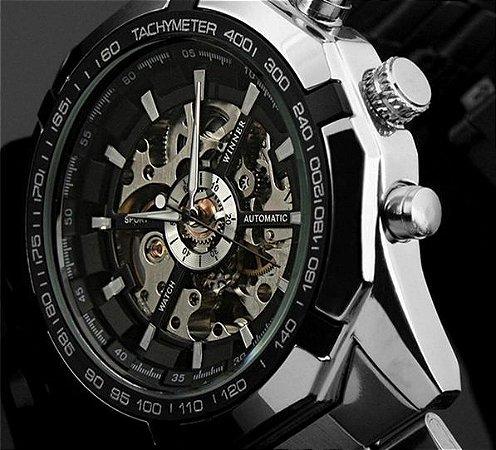 db3e5ab09c0 relógio masculino homem automático skeleto winner prata dourado ...