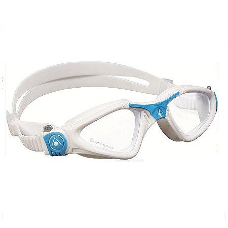 Oculos Aqua Sphere Kayene Small Branco Azul Lente Transparente