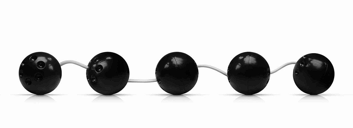 Cordão Tailandês - Pompoar - 5 Esferas - 3 cm - Preto