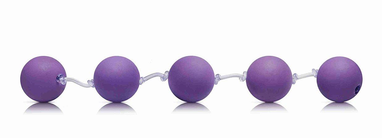 Cordão Tailandês - Pompoar - 5 esferas - 1,5 cm - Branco
