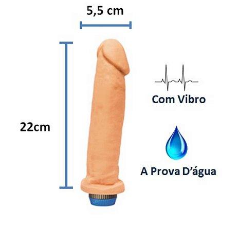 Pênis realístico Soft 21 - Com vibrador e à prova d'água - 22 x 5,6 cm