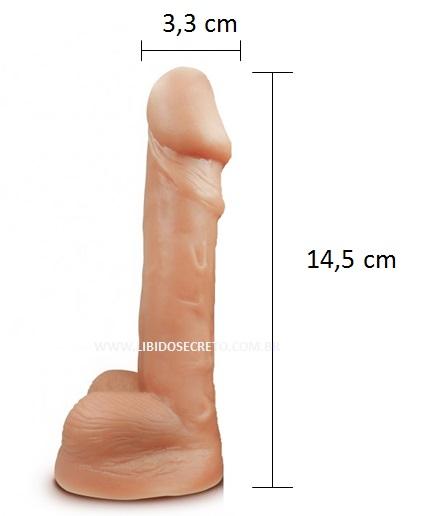 Pênis realístico 61 - Maciço com escroto - 14,6 x 3,3 cm