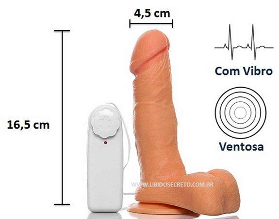 Pênis realístico 18 - Com vibrador, escroto e ventosa - 16,5 x 4,5 cm