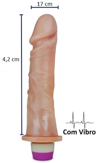 Pênis realístico Luxúria 71 - Com vibrador - 17 x 4,2 cm