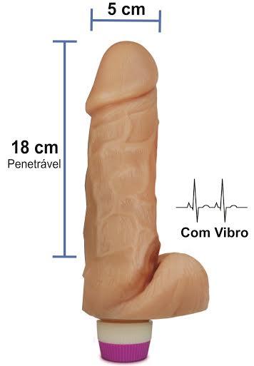 Pênis realístico Luxúria 59 - Com vibrador e escroto - 18 x 5 cm