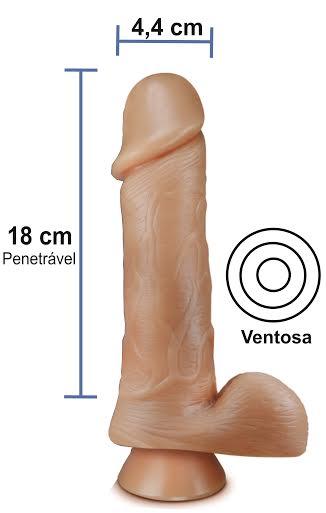 Pênis realístico 55 - Maciço, ventosa e escroto - 18 x 4,4 cm