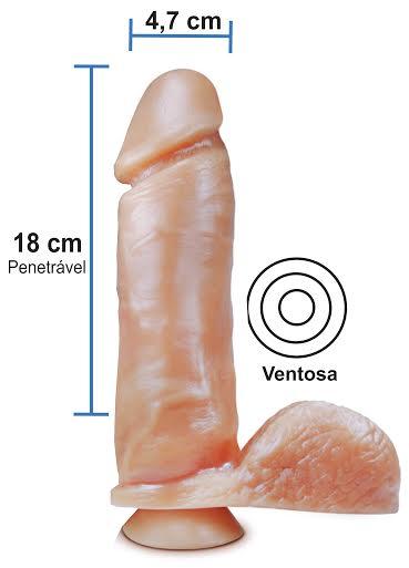 Pênis realístico 53 - Maciço, ventosa e escroto - 18 x 4,7 cm