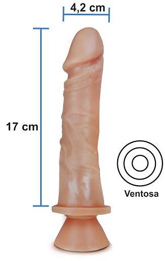 Pênis Realístico 51 - Maciço e com Ventosa - 17 x 4,2 cm