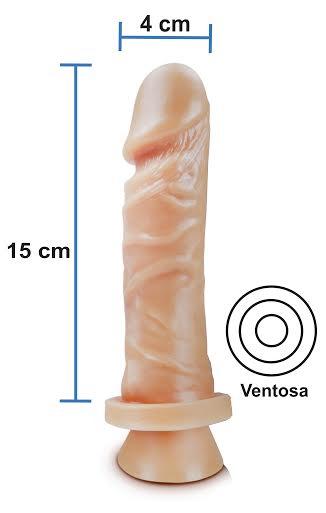 Pênis realístico 49 - Maciço com ventosa - 15 x 4 cm