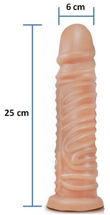 Pênis realístico Ondulado 44 - Maciço - 25 x 6 cm - Cor Pele