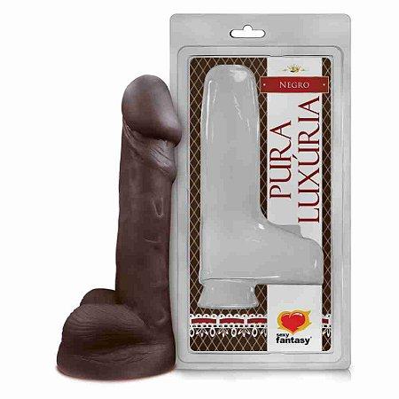 Pênis Realístico - Luxúria 99 - Maciço - Escroto - Marrom - 14,6 cm