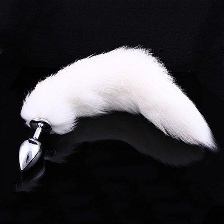 Plug Anal - Calda de Raposa do Ártico - Aço Inox - 7,5 x 2,8 cm